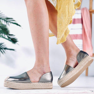 Plus Size Espadrille Side Cut Leather Slip On Loafers