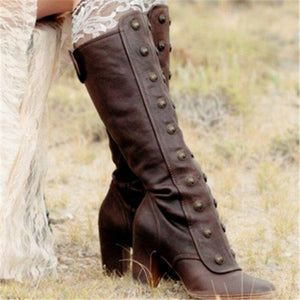 Women Vintage Double-Breasted Mid-Calf Boots