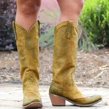 Load image into Gallery viewer, Bohemia Cowgirl Boots Buckle Boots Medium Heel Retro Boots