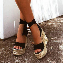 Load image into Gallery viewer, Women Flocking Wedge Sandals Casual Plus Size Lace Up Shoes