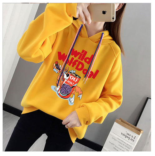 New winter warm ladies plus velvet printed letters students casual wild cartoon hooded pullover sweatshirt women