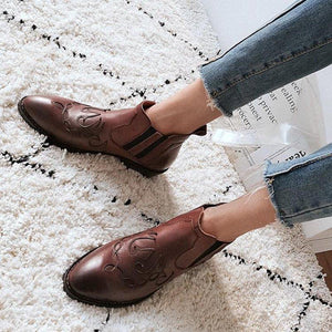 Vintage Ankle Boots  Pu Booties