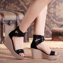 Load image into Gallery viewer, Women Wedge Sandals Casual Peep Toe Zipper Sandals Shoes