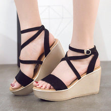 Load image into Gallery viewer, Women Wedge Sandals Casual Peep Toe Adjustable Buckle Sandals Shoes