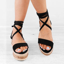 Load image into Gallery viewer, Women Leather Wedge Sandals Casual Lace Up Shoes