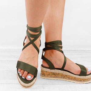 Women Leather Wedge Sandals Casual Lace Up Shoes