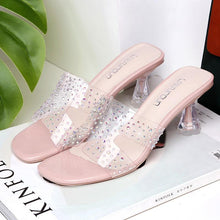 Load image into Gallery viewer, Chic Rhinestone PVC Transparent Special Heel Slide Sandals