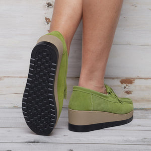 Women Artificial Nubuck Casual Lace Up Creepers