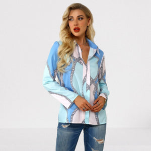 Plus Size 4xl 5xl 2020 Autumn Women Leisure Blouse Tops Chain Print Office Ladies Blouse Shirt Long Sleeve Blusas Mujer De Moda