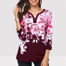 Load image into Gallery viewer, Plus size 4xl 5xl 2020 Women New summer Boho Print Flower Tops Three-Quarter Sleeve V-Neck T Shirt Female Casual Tee Shirt