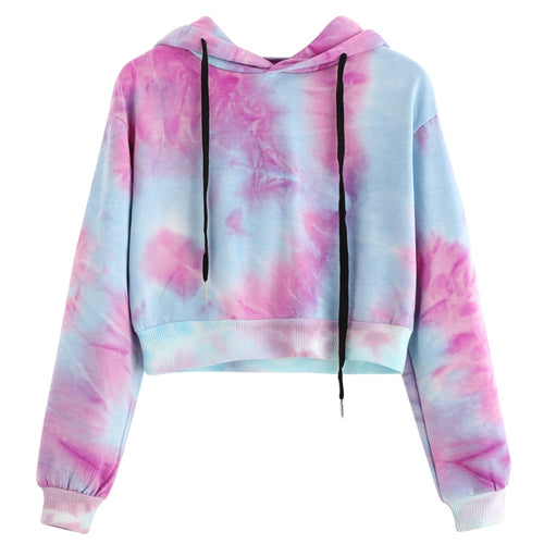 Purple Tie Dye Printing Short Hoodies Sweatshirt Women Casual Drawstring Thin Pullover Autumn Female Girl Long Sleeve Tops #Y3