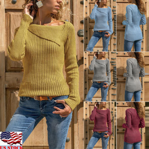 Retro Rrregular Stylish Women Casual Long Sleeve Knitted Warme Pullover Loose Sweater Jumper Tops Coat Jacket Knitwear Outwear