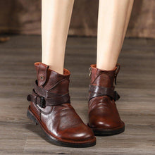 Load image into Gallery viewer, Women's leather flat ankle boots