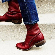 Load image into Gallery viewer, Women Distressed Ankle Boots Pointed Western Style Leather Boots