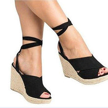 Load image into Gallery viewer, Womens Wedge Heel Artificial Suede Summer Lace-Up Sandals