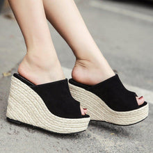 Load image into Gallery viewer, Womens Peep Toe Black Wedge Heel Casual Sandals