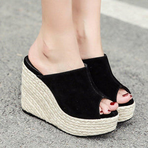 Womens Peep Toe Black Wedge Heel Casual Sandals