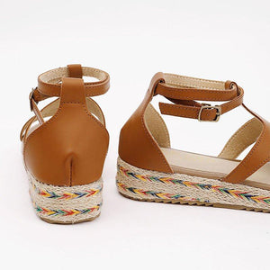 Women Micro Leather Adjustable Buckle Casual Plus Size Sandals