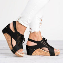 Load image into Gallery viewer, Plus Size Wedge Sandals Gold Lace up with Blocking Hook-Loop