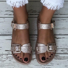 Load image into Gallery viewer, Comfy All Season Buckle Flat Sandals