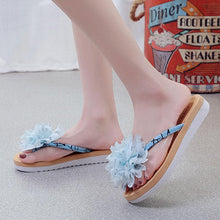 Load image into Gallery viewer, Thong Open Toe Flower Summer Cloth Women Slippers