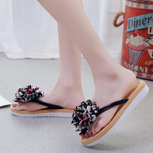 Thong Open Toe Flower Summer Cloth Women Slippers