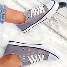 Load image into Gallery viewer, Womens Simple Casual Canvas Lace-Up Sneakers