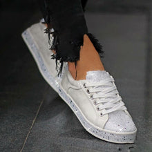 Load image into Gallery viewer, Plus Size Glitter Leather Lace Up Athletic Sneakers