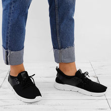 Load image into Gallery viewer, Breathable Mesh Cloth Panel Fleece Lined Lace-up Sneakers
