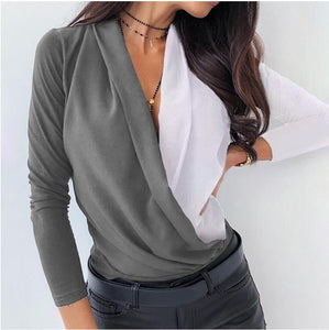 Sexy Deep V-Neck Blouse Print Elegant Office Ladies Pullover Shirt Casual Women Autumn Winter Long Sleeve Tops Blusas Streetwear