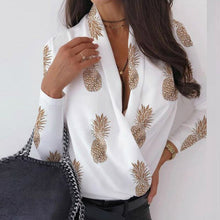 Load image into Gallery viewer, Sexy Deep V-Neck Blouse Print Elegant Office Ladies Pullover Shirt Casual Women Autumn Winter Long Sleeve Tops Blusas Streetwear