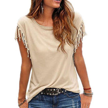 Load image into Gallery viewer, Summer Tassel Casual T Shirt Female Vest Women O-neck Top Female T Shirt Short Sleeve T-shirt Woman T-shirt Top Tees