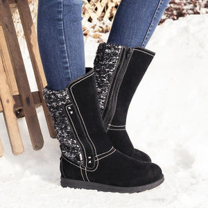 Women's Sweater Snow Boots Flat Heel Knitted Fabric Slip On Boots