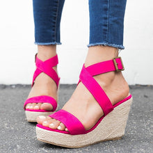 Load image into Gallery viewer, Women Wedge Sandals Criss Cross Strap Adjustable Buckle Shoes