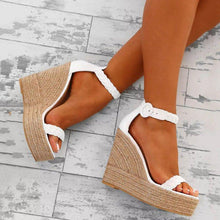 Load image into Gallery viewer, Women PU Wedge Sandals Casual Comfort Adjustable Buckle Shoes