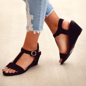 T-Strap Peep Toe Adjustable Buckle Wedge Sandals