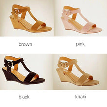 Load image into Gallery viewer, T-Strap Peep Toe Adjustable Buckle Wedge Sandals