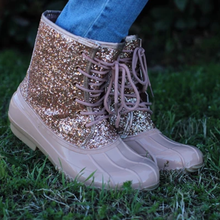 Load image into Gallery viewer, Women Casual Lace-Up Sparkling Glitter Boots