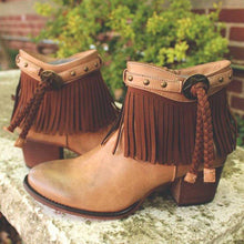 Load image into Gallery viewer, Woman Tassel Rivet Chunky Heel Round Toe Ankle Boots