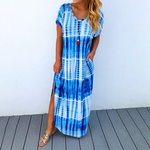 V-Neck Irregular Tie-Dye Print Dress For Ladies Blue White Short Sleeve Women Maxi Dresses Summer Split Loose Robe Femme D30