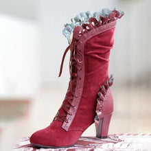 Load image into Gallery viewer, Bohhemian  Cosplay Gothic Boots with Vine Curl Heel Knee High Steampunk Boots