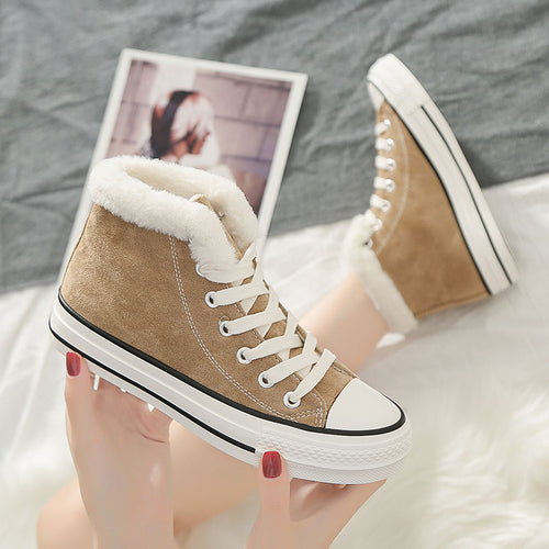 Winter Warm Casual Canvas Shoes Women Classics Sneakers High Quality High-top Fashion Cotton Shoes Ladies Flats Zapatos De Mujer