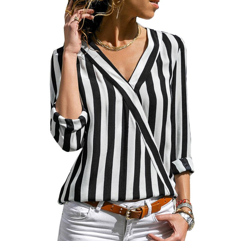 Women Long Sleeve Loose Striped Shirt Sexy V-Neck Blouse Casual Tops Plus Size blusas de moda 2020 Ladies Chiffon Blouses