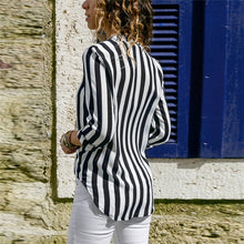 Load image into Gallery viewer, Women Long Sleeve Loose Striped Shirt Sexy V-Neck Blouse Casual Tops Plus Size blusas de moda 2020 Ladies Chiffon Blouses