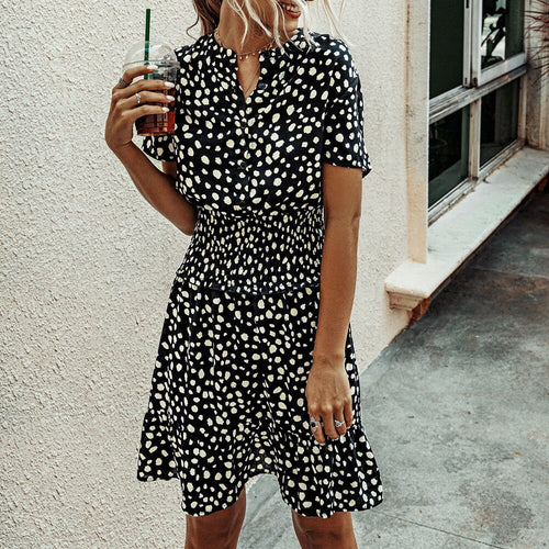 Women Summer Dress Short Sleeve Polka Dot Chiffon Beach  Sundress 2020 Fashion Casual Floral Printed Mini Dresses For Women D30