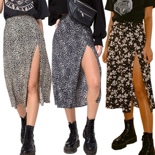Women Summer Split Leopard Skirts 2020 Green Fashion Long Skirt Sexy Women Streetwear Loose Lady Clothes Black Mid Calf Skirts
