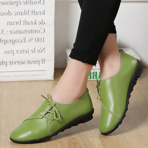 Women shoes 2020 new arrival spring lace-up pleated genuine leather flats shoes woman rubber party female shoes tenis feminino