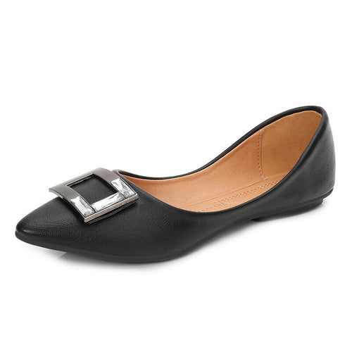 Work Handmade Pu Leather Office Black Women Casual Loafers Elegant Sexy Pointed Toe Flats Square Buckle Shoes MS-A0027