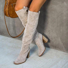 Load image into Gallery viewer, Women Fall Chunky Heel Faux Suede Long Boots