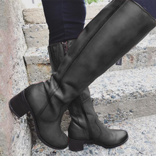 Load image into Gallery viewer, Brown Holiday Leather All Season Zipper Low Heel Boots